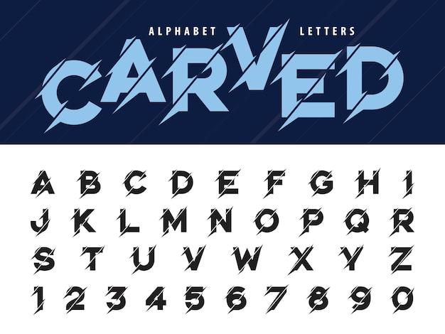 Glitch modern alphabet letters, grunge und carved linear stilisierte gerundete schriftarten