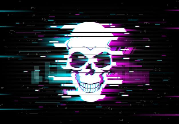 Glitch schädel verzerrt neon glühenden pixeligen schädel