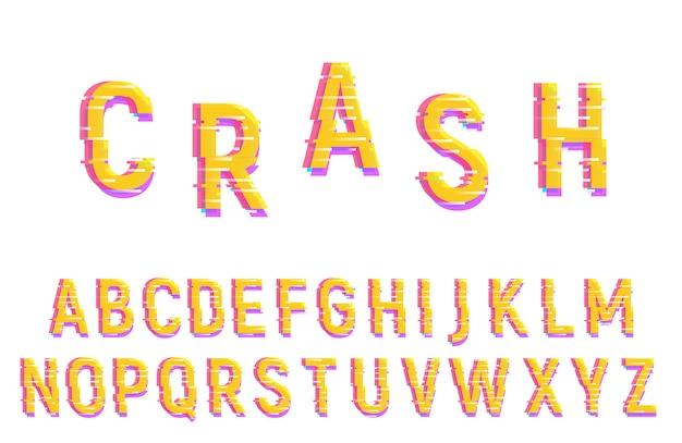 Glitch schriftart alphabet. verzerrte vektorschrift