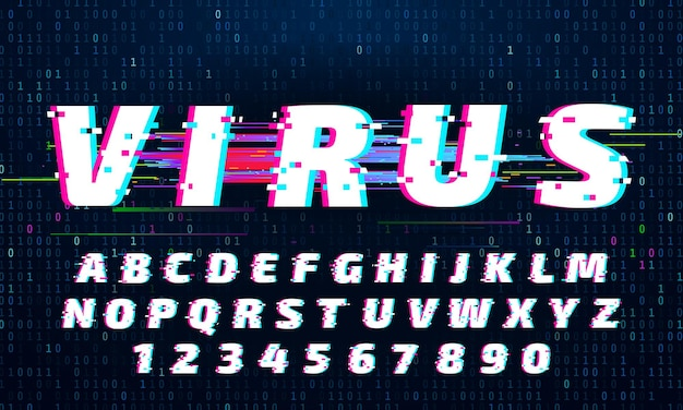 Glitch-schriftart. buchstaben und zahlen mit digitalem rauschen. verzerrter alphabetsatz mit tv-signalstörungen. lateinischer oder englischer schriftzug im futuristischen stil. trendige abc-satzvektorillustration