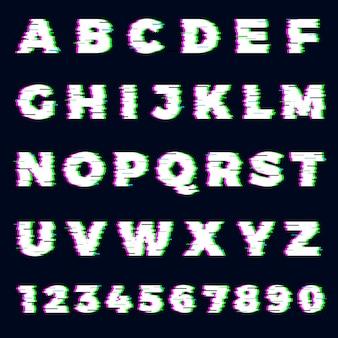 Glitch-schriftart. zerstörer alphabet buchstaben dynamische bildschirmeffekt gaming typografie schriftart vektor vorlage. glitch alphabet schriftart, schrift abc digitale zerstörte illustration