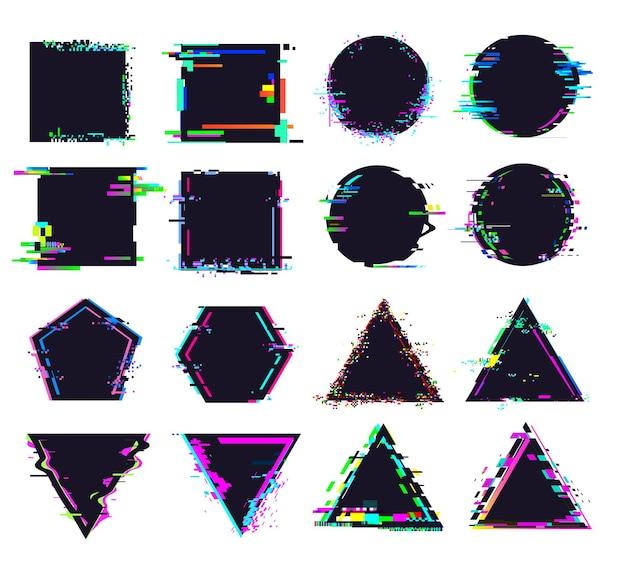 Glitch schwarze rahmen unterschiedlicher form. verzerrtes signal, quadratische und runde, dreieckige und polygonale figuren. zerstörte geometrische formen mit rauschen für logo isolierte vektorillustration