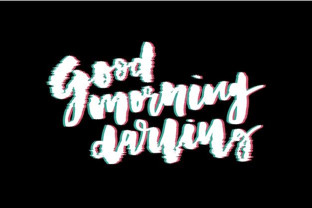 Glitch-slogan guten morgen