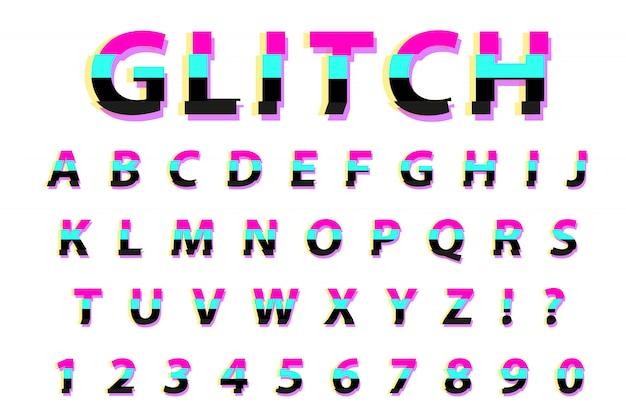 Glitch typografie rauschschrift. schriftart verzerrter schriftstil. trendy alphabet interferenz lateinische buchstaben von a bis z. auf weißem hintergrund. illustration.