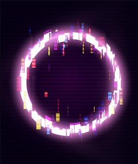 Glitched circle frame design. verzerrter glitch style moderner hintergrund. glow design für grafikdesign - banner, poster, flyer, broschüre, karte. illustration.