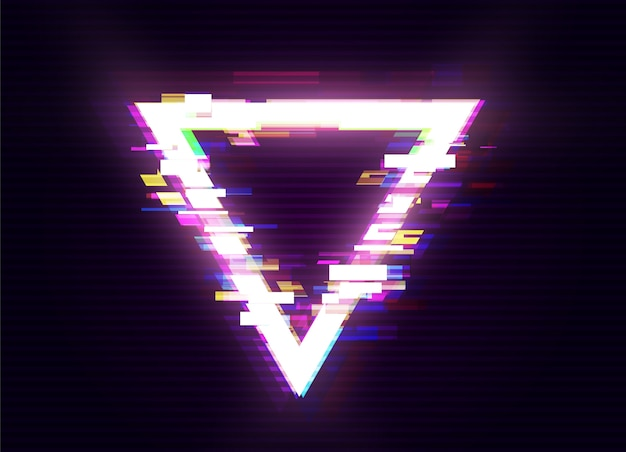 Glitched triangle design. verzerrter glitch style moderner hintergrund. glow design für grafikdesign - banner, poster, flyer, broschüre, karte. illustration.