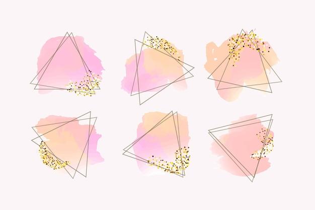 Glitzer-rahmen-kollektion mit pinselstrichen
