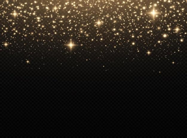 Glitzereffekt von partikeln die staubfunken und goldenen sterne leuchten in besonderem licht