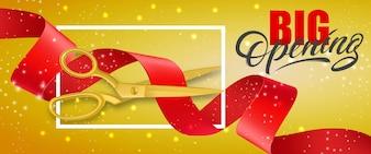 Glitzernde Fahne der großen Öffnung mit den Rahmen- und Goldscheren, die rotes Band schneiden