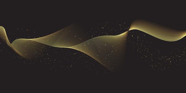 Glitzernde fließende goldlinien