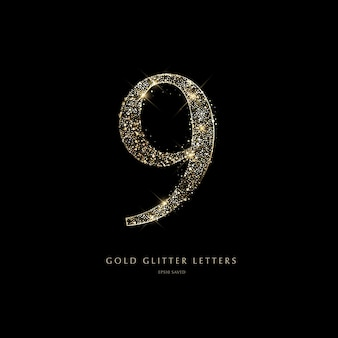Glitzernde goldene buchstaben auf schwarzem hintergrundglänzende buchstaben