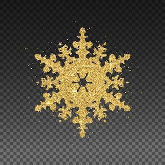 Glitzernde goldene schneeflocke.