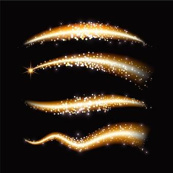 Glitzernde goldene wellen mit unscharfen scheinen