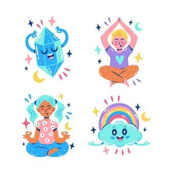 Glitzernde meditationsaufkleber-sammlung
