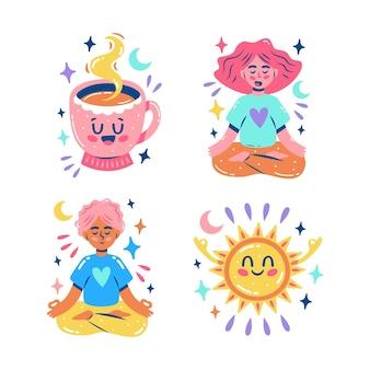 Glitzernde meditationsaufkleber-set