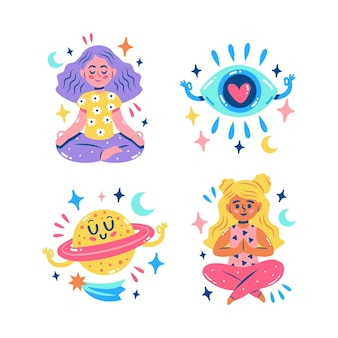 Glitzernde meditationsaufkleber