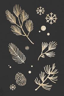 Glitzernde weihnachtsbaumpflanzen mit schneeflocken auf schwarzem hintergrundvektor