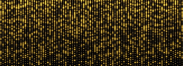 Glitzernder regen, goldener sternstaub, leuchtend gelbe schimmer lokalisiert auf einem dunklen hintergrund.
