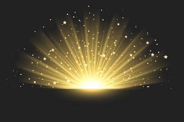 Glitzernder sonnenaufgang lichteffekt
