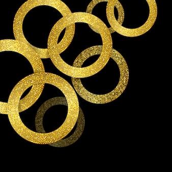 Glitzerndes Gold kreist Hintergrund ein