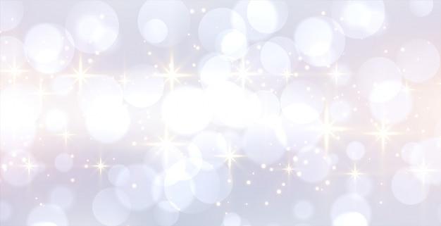 Glitzerndes weißes bokeh-banner mit textraum