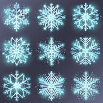 Glitzerschneeflocke. schneedesign winter, dekoration für weihnachten, jahreszeitverzierung, vektorillustration