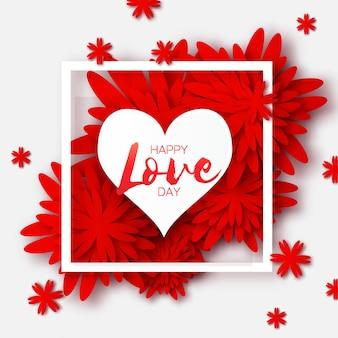 Global love romantischen urlaub. glücklicher valentinstag grußkarte. papierschnitt rote blume und herzrahmen