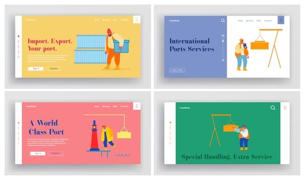 Global maritime logistic website landing page set.