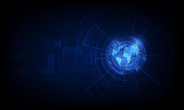Globale abstrakte bitcoin kryptowährung blockchain technologie weltkarte hintergrund