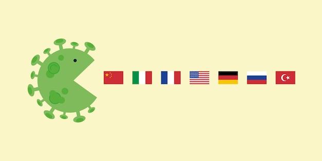 Globale auswirkungen des coronavirus auf die welt riesige coronavirus-zelle schluckt staatsflaggen