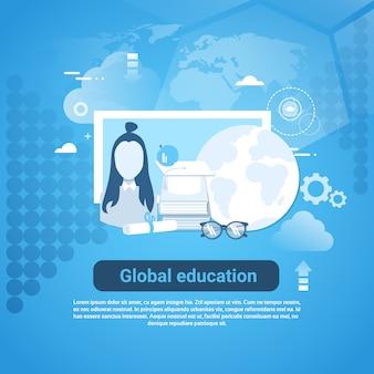 Globale bildungs-netz-fahne mit exemplarplatz auf blauem hintergrund