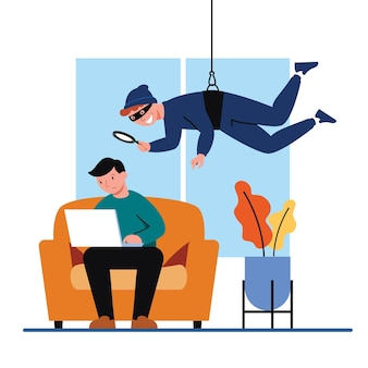Globale datensicherheit, sicherheit personenbezogener daten, online-konzeptillustration für cyber-datensicherheit, internetsicherheit oder datenschutz und -schutz.