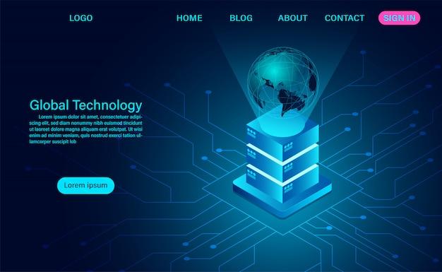 Globale digitale technologie. big-data-transfer-technologie und fernzugriff auf die weltweite zielseite