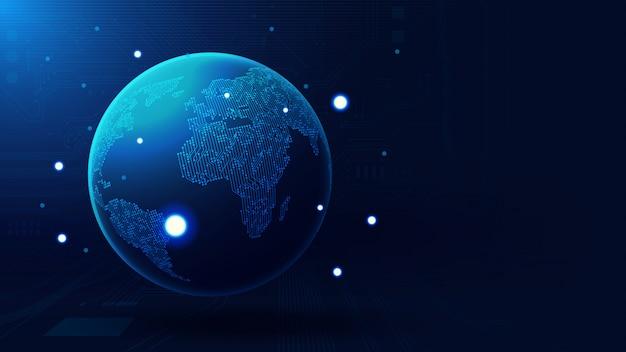 Globale erdkugel mit exemplar