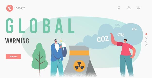 Globale erwärmung, grüne co2-steuern globale erwärmung landing page template. charaktere an der fabrikpfeife, die giftigen rauch ausstößt. naturverschmutzung, ökologie kontamination. cartoon-menschen-vektor-illustration