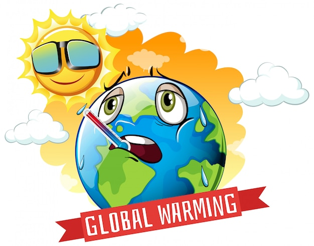 Globale erwärmung mit brennender erde