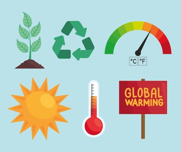 Globale erwärmung sechs symbole