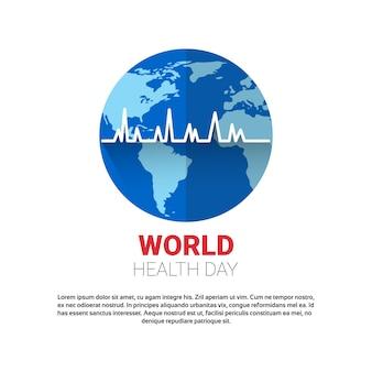 Globale feiertags-fahne der erde-planeten-gesundheits-welttag mit kopien-raum