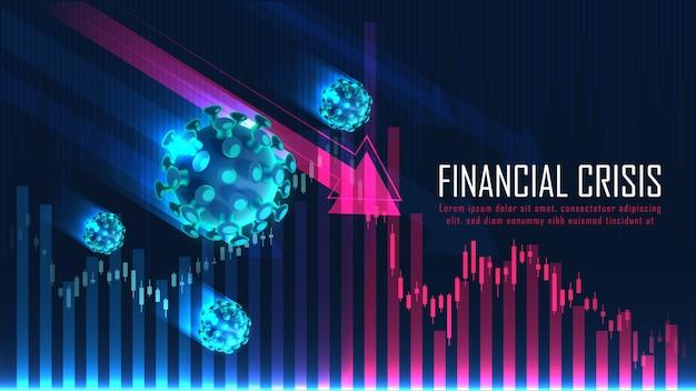 Globale finanzkrise aufgrund eines viruspandemie-grafikkonzepts, das für finanzinvestitionen oder den wirtschaftlichen hintergrund geeignet ist