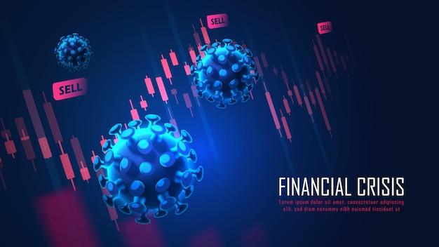 Globale finanzkrise durch viruspandemie grafikkonzept geeignet für finanzinvestitionen oder wirtschaftliches hintergrundkonzeptdesign
