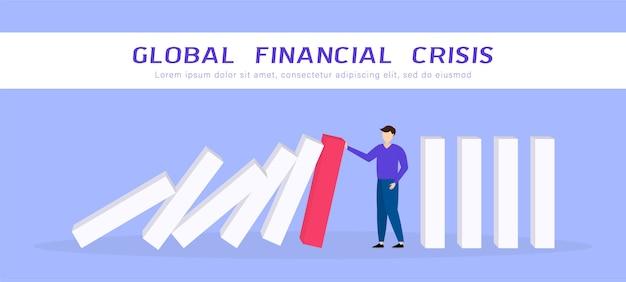 Globale finanzkrise. geschäftsmann stoppt fallenden domino. wirtschaftliche auswirkungen von covid-19 coronavirus. flache 3d isometrische 3d. geschäftsführung und lösungskonzept. illustration.
