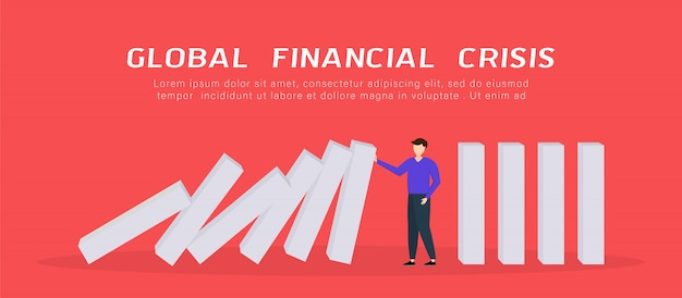 Globale finanzkrise. geschäftsmann stoppt fallenden domino.