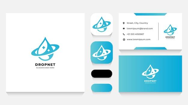 Globale flüssigkeitstropfen-logo-vorlage und visitenkarte