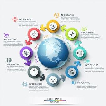 Globale geschäftsvorlage mit pfeilen