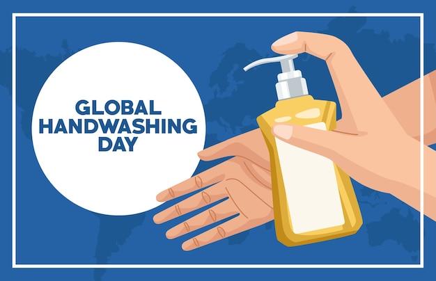 Globale handwaschkampagne mit händen unter verwendung der seifenflasche
