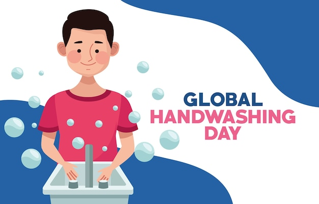 Globale handwaschkampagne mit mann, der hände im badezimmer wäscht