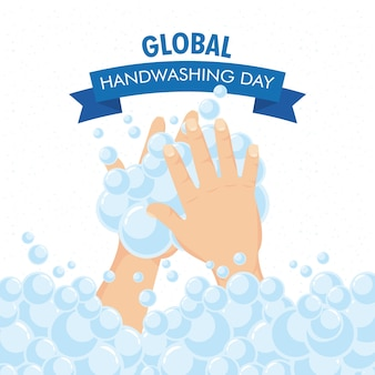 Globale handwaschkampagne mit schaumstoff im band.
