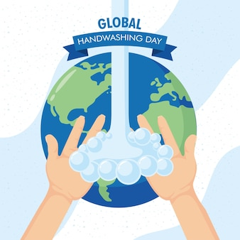Globale handwaschkampagne mit wasser und erde planet.