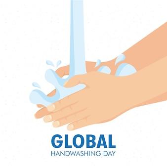 Globale handwaschkampagne mit wasser und schaum.