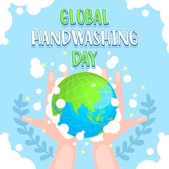 Globale handwaschtag-karikaturillustration